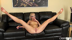 Gorgeous bim with long legs Zoey Paige sits holds her pussy tightly