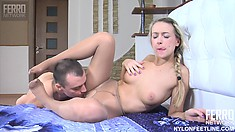 Denis gets her sexy stockinged feet worshiped by Nicholas, then he fucks her