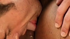 Black gay hunk is fucked hard by his white lover's big hard cock